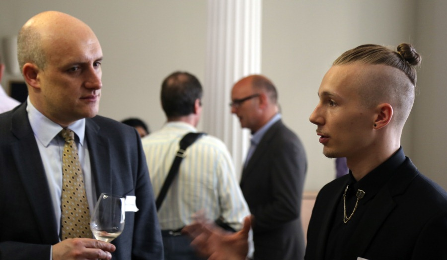 Christopher Crawford-Kelly, RSA, Student Design Awards winner chats during Royal Society of the Arts awards ceremony