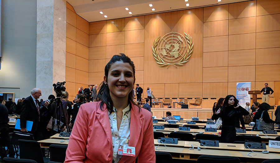 A Human Rights and International Conflict MA student at a UN forum in Geneva.
