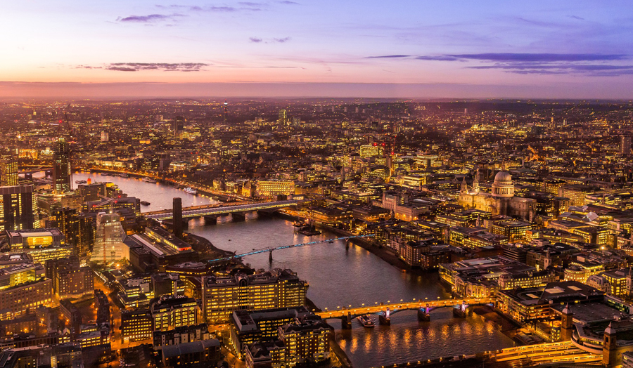 Aerial view over the River Thames