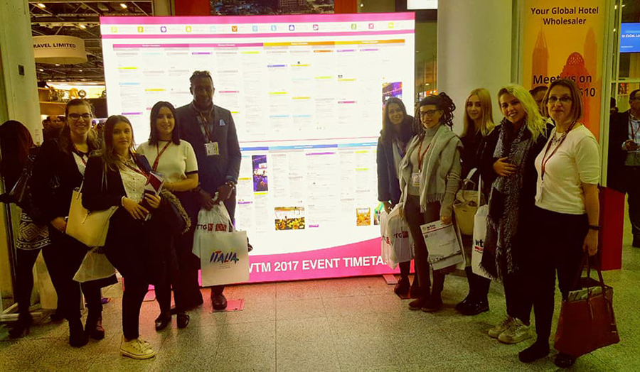 A picture of Tourism and Travel Management BA students attending the World Travel Market Fair 2017.