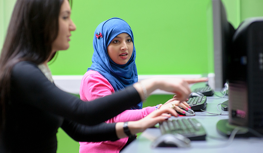Female students at a computer