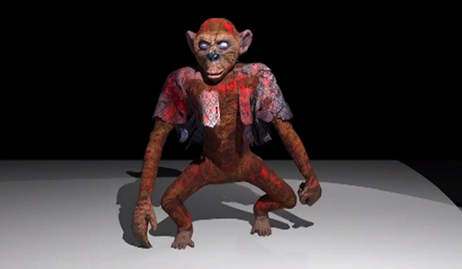 An animated circus monkey character