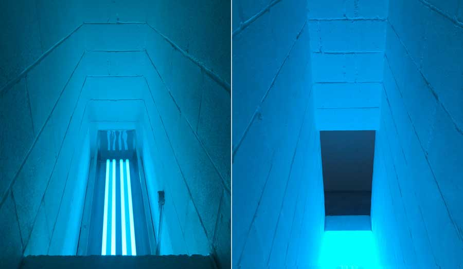 2 images next to each other,  both of a narrow space like a staircase lit up by blue light