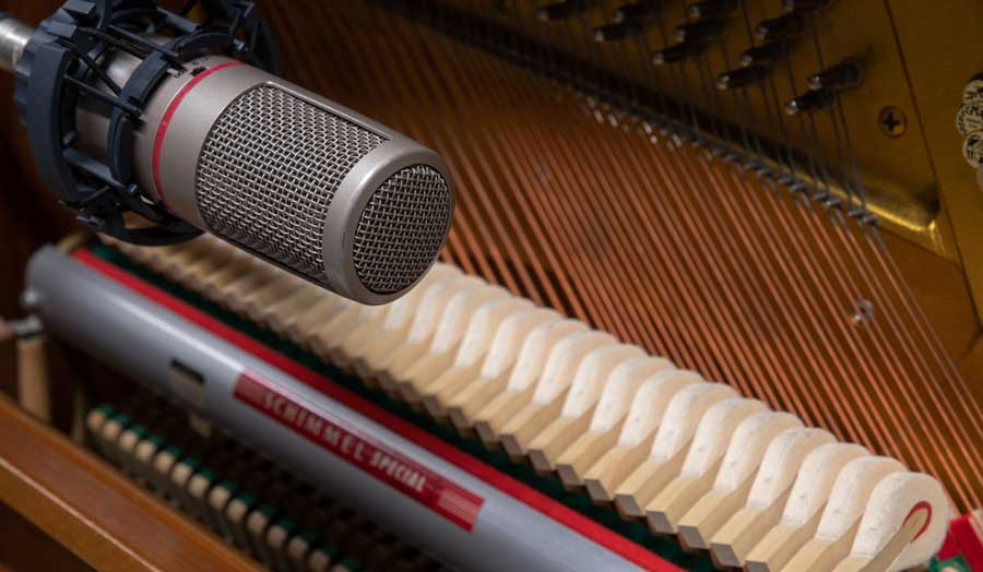a close up image of a microphone recording
