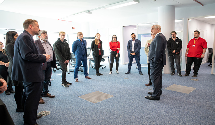 The Duke of York, Patron of London Metropolitan University, meets with the staff of the Cyber Security Research Centre