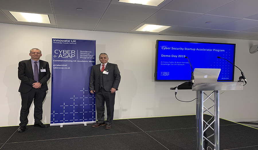 Prof Ouazzane with Anthony Phipps during Cyber ASAP Demo Day