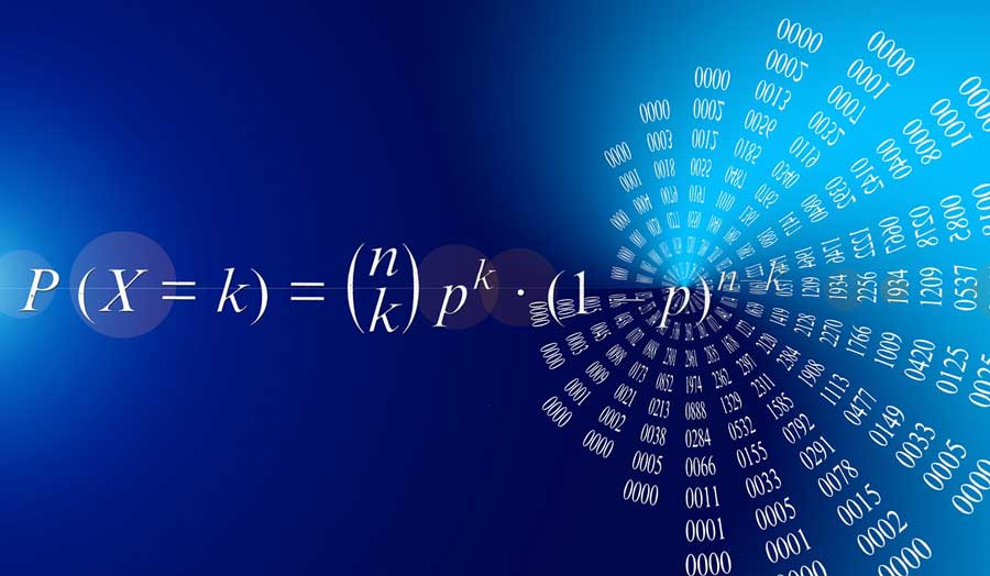 a mathematical equation on a blue background