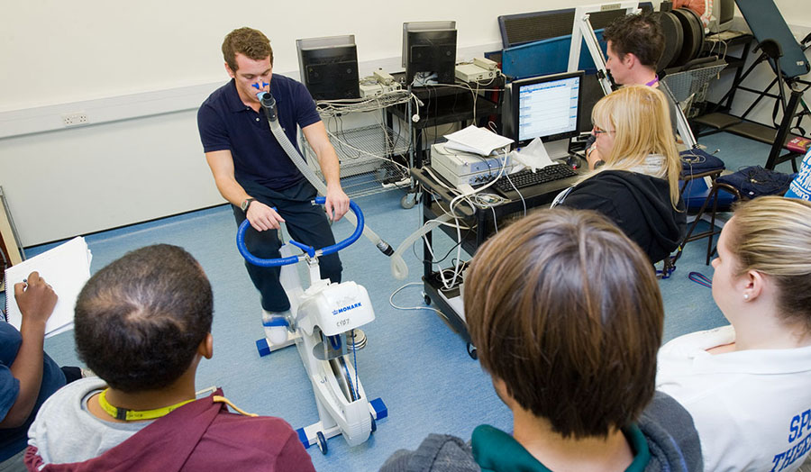Respiratory testing on exercise bicycle