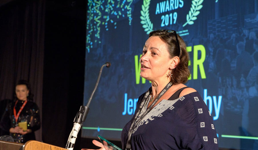 Jennifer Jacoby at awards ceremony