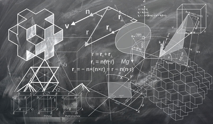 A geometry lesson on a blackboard