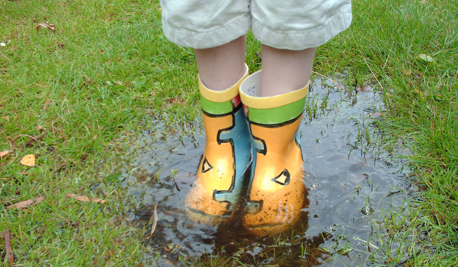 Child with wellingtons