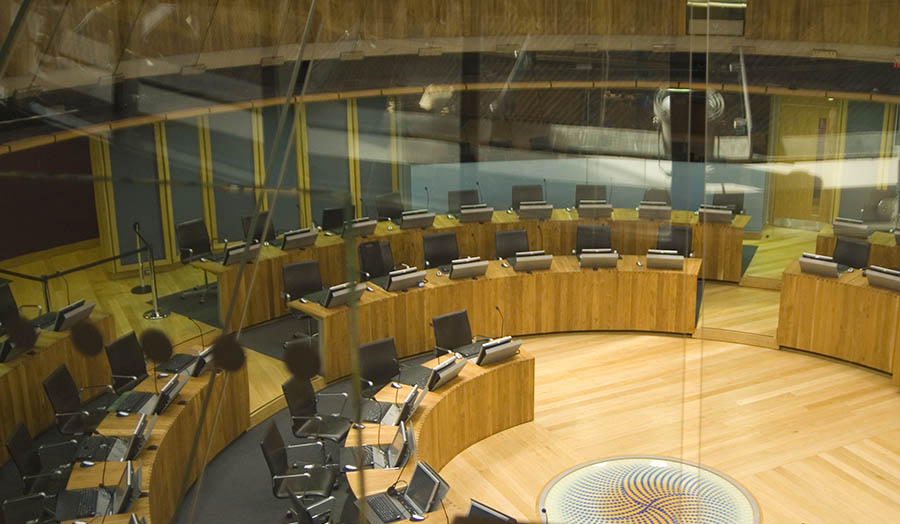 Image of the inside if the Wales National Assembly