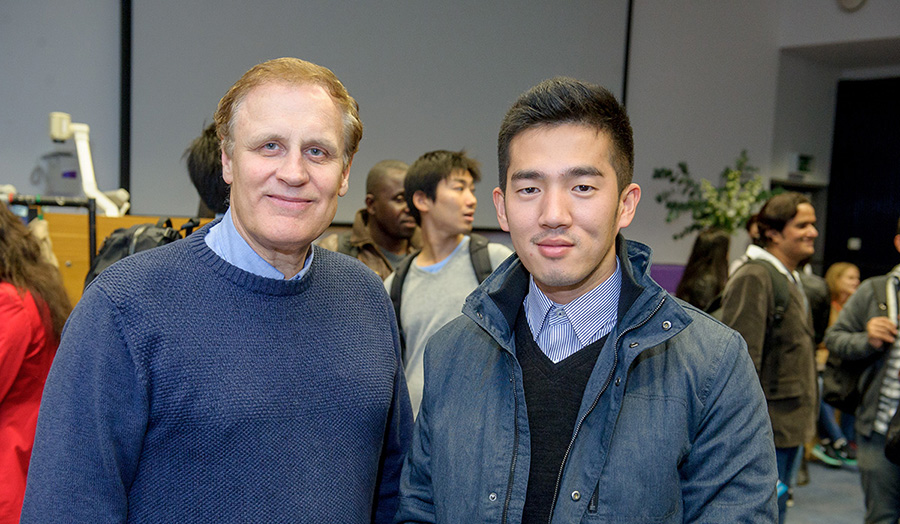 Joon Cheol Park with course leader Stephen Baines at the Scholarship Awards Evening