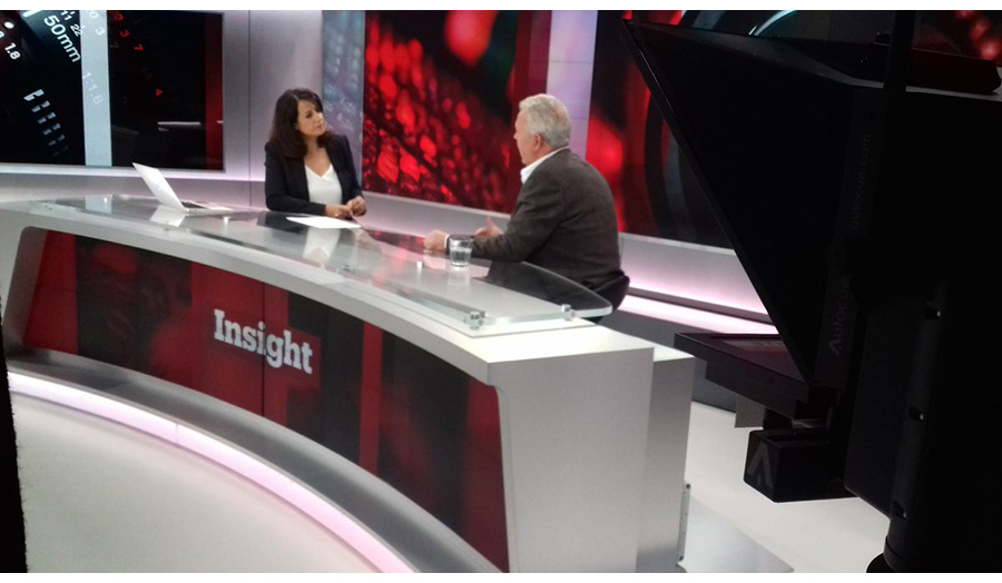 Photograph of Nick Coleman on speaking on television show Insight.