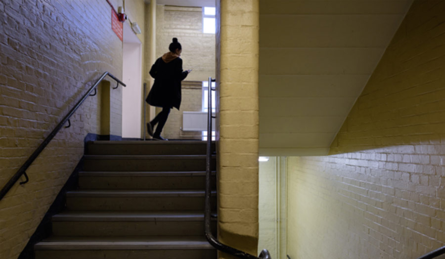 Student going up stairs