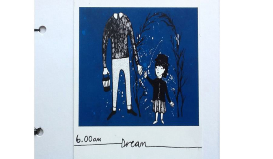 A dream image of a headless man holding hands to a little girl