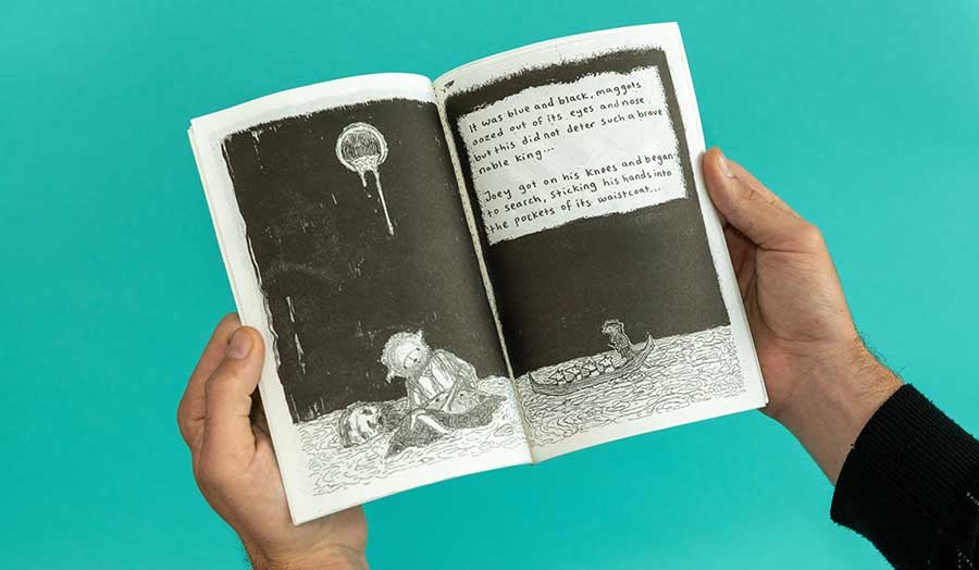 a black and white illustrated comic