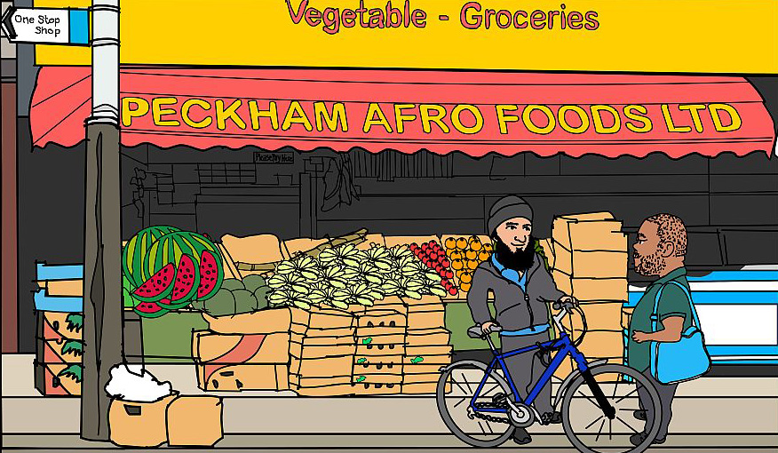 Peckham Afro Foods shop illustration