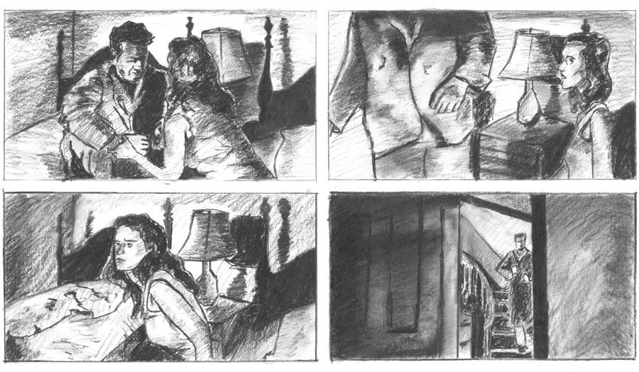 002 Film noir storyboard exercise, charcoal drawing by John Taber