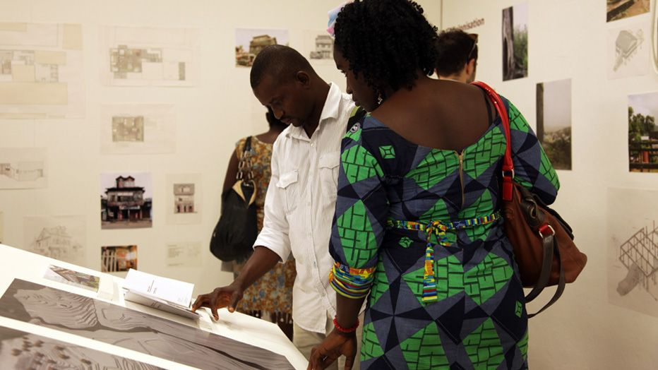 Visitors looking through research Freetown