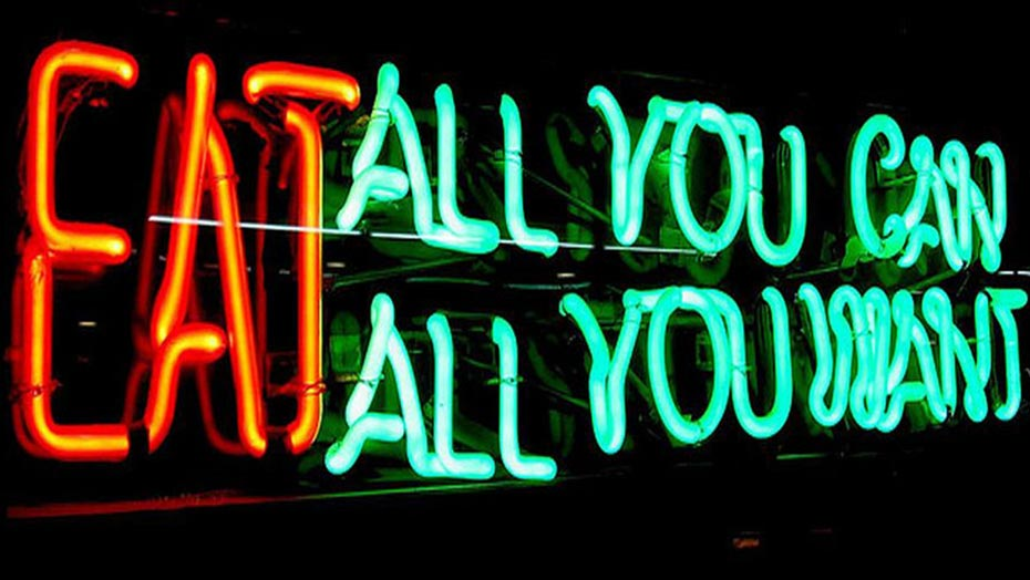 'Eat all you can' neon sign