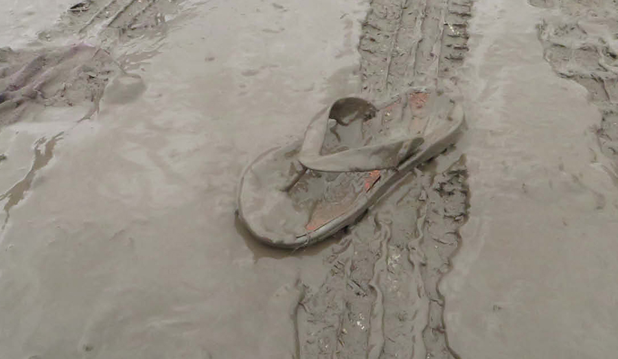 Lost flip-flop in a thick muddy path