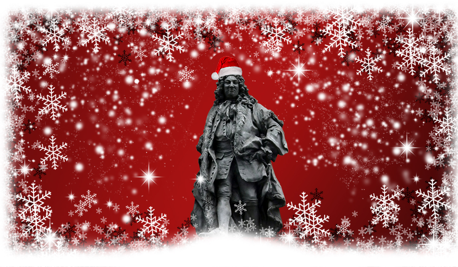 chhristmas card type Image of Sir John Cass statue in Snow wearing a santa hat, to promote the cass christmas cracker open studios event