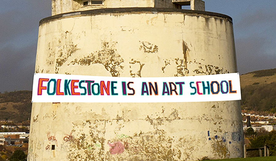 Image of MArtello tower with banner to promote project for Folkestone Triennial led by BobandRoberta Smith