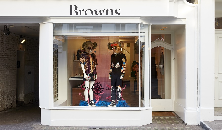 Window Display at Browns featuring Mousey Mannequins