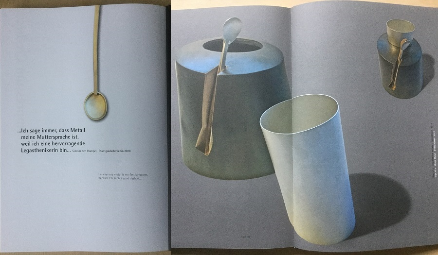 pages from Impulse book showing metal spoons and jugs