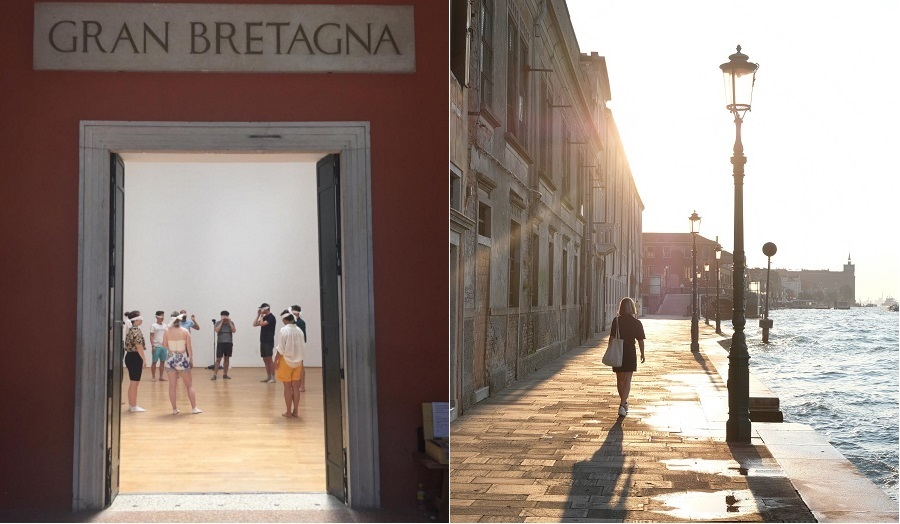 an image of a group in blindfolds through a doorway and an image of a woman walking in venice at sunset