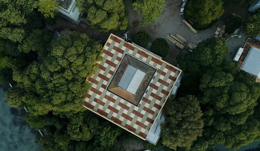 a building seen from above
