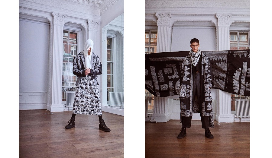 Two images of male models in new designs by edward crutchley