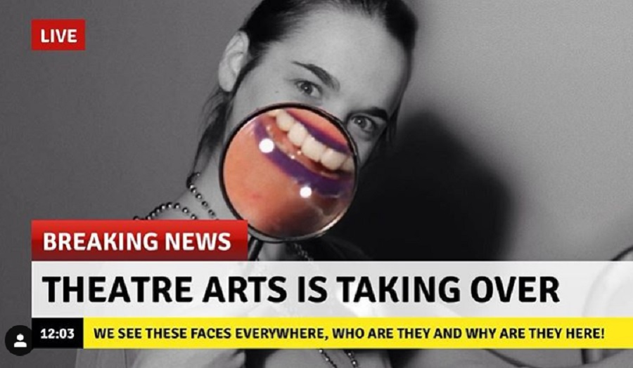woman's face on tv news with caption theatre arts is taking over