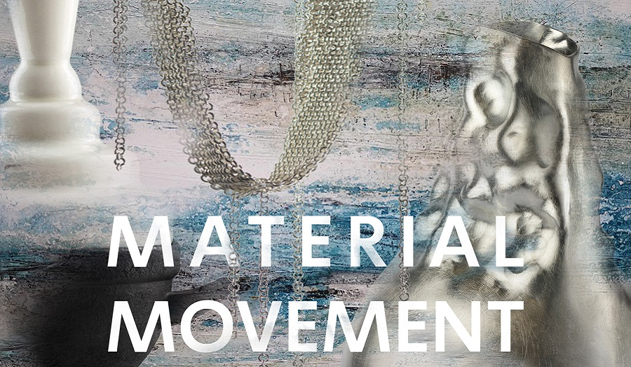 the words 'material movement' over abstract collage