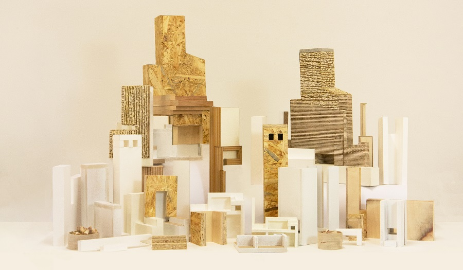 a series of architectural models