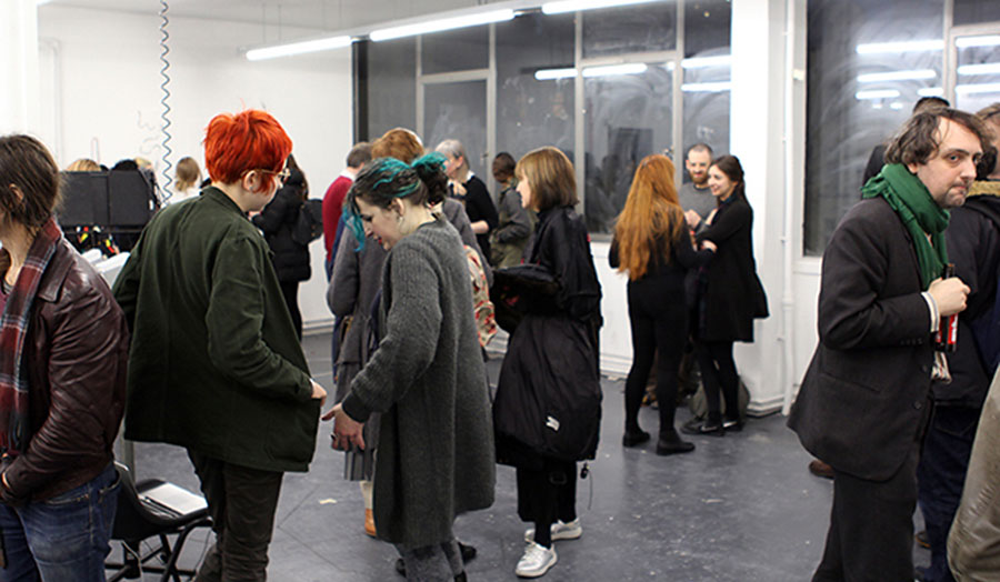 Artists, students and lecturers discussions during an Open Field event in Central House