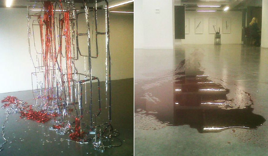 Traces of artworks by Ed Formieles (left) and Jack Lavender (right)