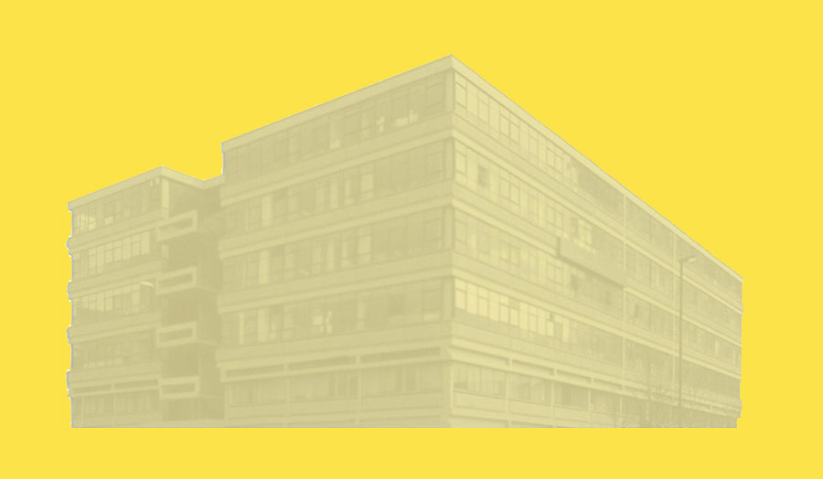 Drawing of the old The Cass building in Aldgate High Street on yellow back ground