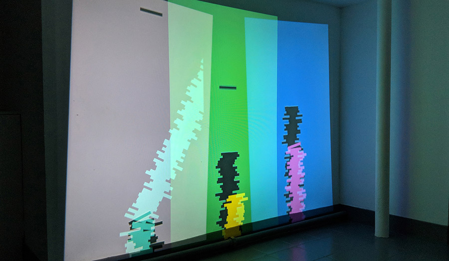 Coloured light strips projected to the wall