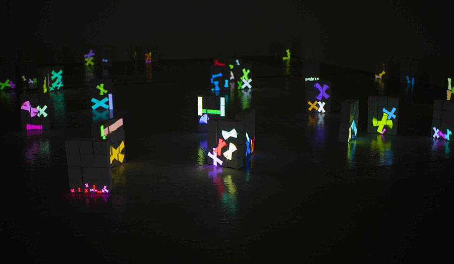 Display of coloured lights. Software Sculpture and Installation
