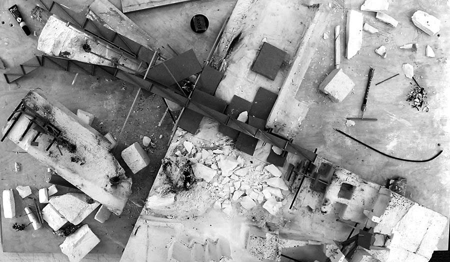 An aerial view of scattered architectural materials
