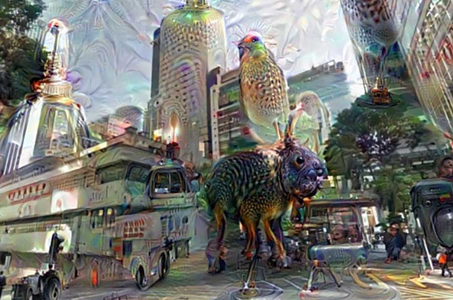 A fantasy illustration of an urban street scene mixed with imaginary animal creatures