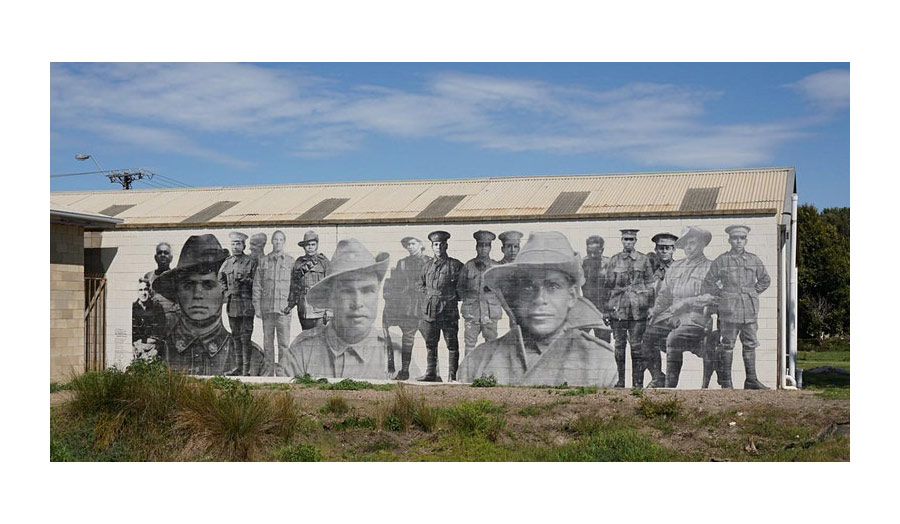 Painted mural of Black Anzacs in Meningie, South Australia