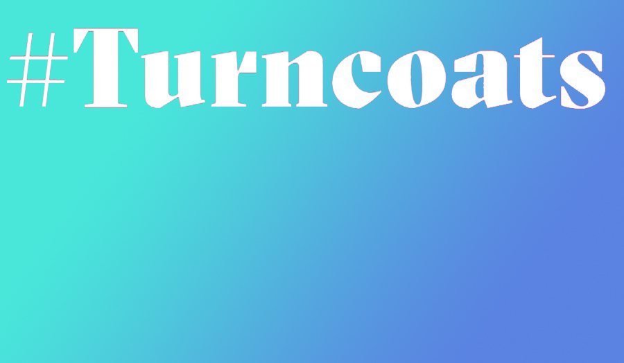 The word turncoats over a blue green gradient background.