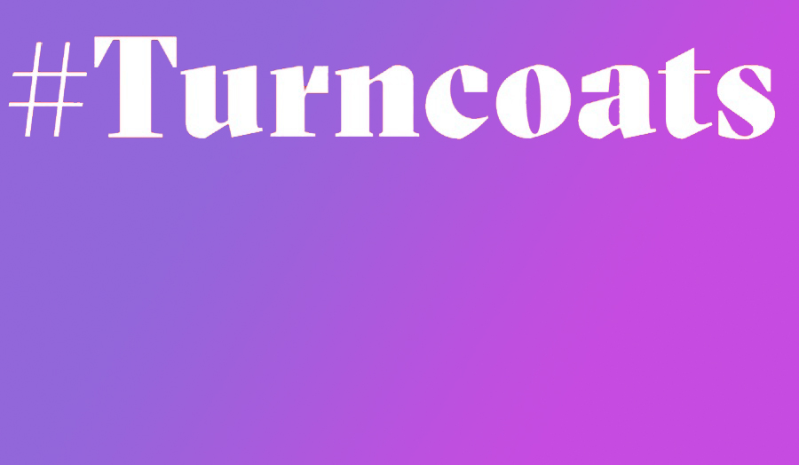 The word turncoats over a purple background