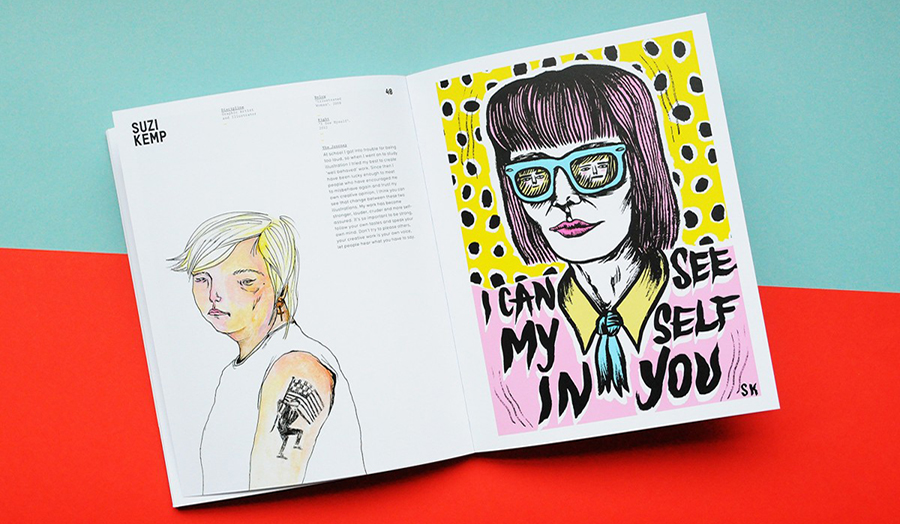 A book of illustrations on multi-coloured background