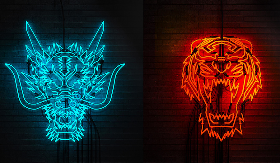 neon tiger and dragon