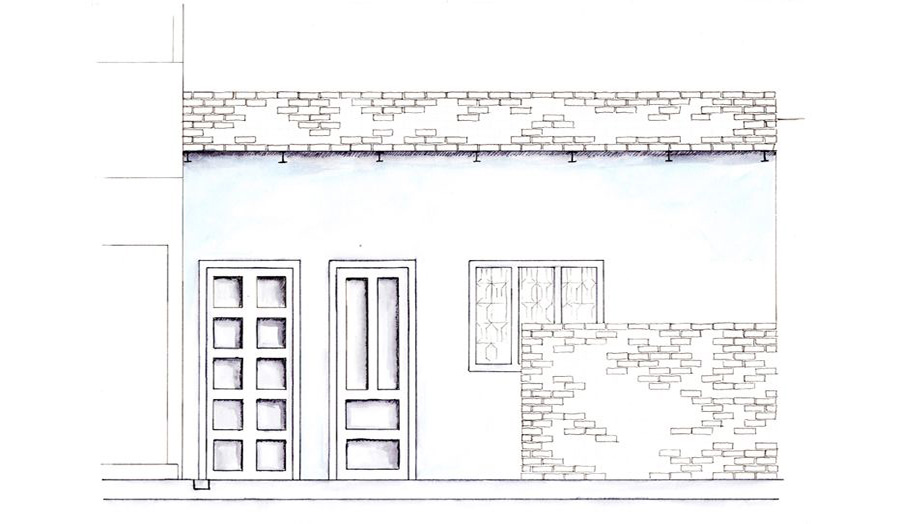 Part elevation of shoemakers house Laura Jane Berge