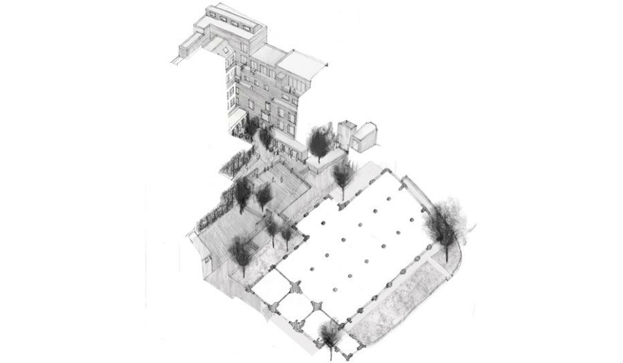 Axonometric of the Cooks Hall and Garden Byran Tsang